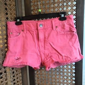 Coral Levi Strauss High Waisted Shorts